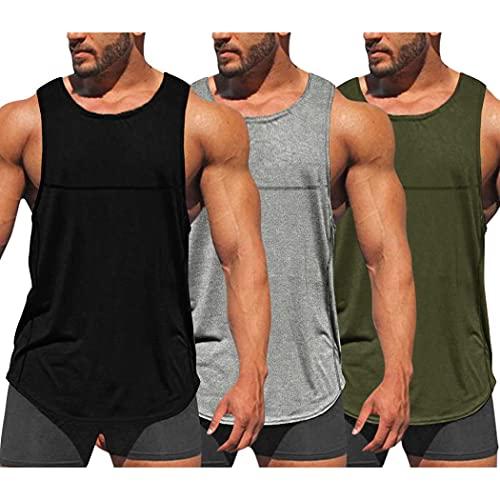 COOFANDY Pack de 3 camisetas de entrenamiento para hombre, secado rápido, para gimnasio, culturismo, fitness, sin mangas, negro, gris, verde militar, M