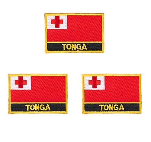 3 Stück Tonga Islands bestickte Flaggen-Emblem-Applikation zum Aufbügeln oder Aufnähen.