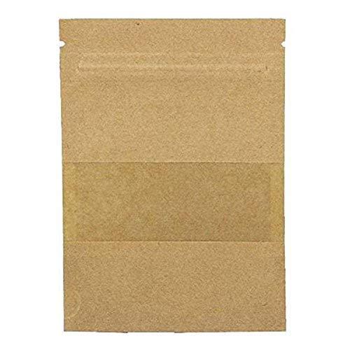 BIGBOBA 100PCS Wiederverwendbar Papier Druckverschlussbeutel Food Storage Stand Up Pouch für Getrocknete Früchte Kaffee Samen Bean Tee Leaf, Braun, 9 * 14CM