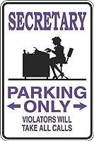 面白いヴィンテージ金属壁ティンサイン、秘書駐車場のみzx、壁サイン面白い鉄絵ヴィンテージ金属プラーク装飾警告サイン吊りアートワークポスターバーパーク