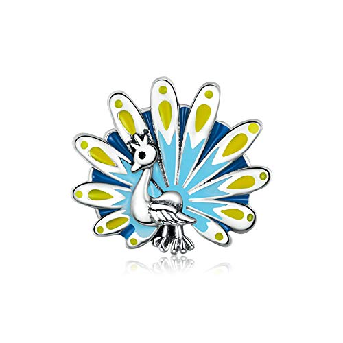 925 Sterling Silver Colorful Peacock Charms Beads CZ Crystal Fit European Women Diy Bracelets Necklaces Christmas Gift