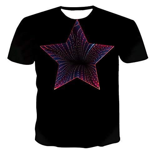SKLHSIL 3D Gedrucktes T-Shirt,Männer Casual Rundhalsausschnitt Kurze Ärmel Star Wirbel Grafik Frauen Sommer Lustige T-Shirt Atmungsaktive Tops Geeignet Für Mode Unisex Teens Holiday Party, X, Groß