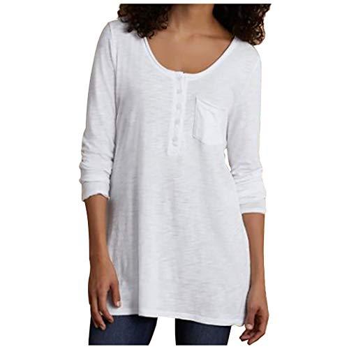 Zarupeng Damen Langarm Einfarbig Tunika Beiläufiges Langarmshirt Bluse mit Rundhalsausschnitt und Knopf Jumper Oberseiten T-Shirt