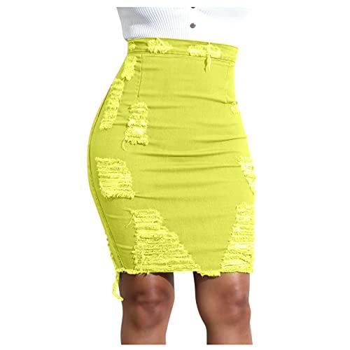 YANFANG Falda Gasa,Falda con Cremallera Trasera De Mezclilla EláStica Cintura Alta Informal Mujer Sexy Agujeros Rotos,Vestido Corto Cuello Halter para Vestido Playa Verano Color,Amarillo,XXL