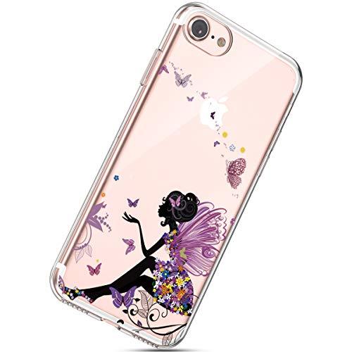 Herbests Cover iPhone 7(4.7'), Case iPhone 8 Flessibile Morbida Gel Silicone Custodia Ultra Slim Colorate Carino Dipinto Crystal Trasparente TPU Silicone Case,Ragazza Farfalla