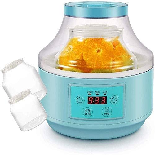 WCJ ferman, klein, automatisch, 2 l, glazen coating voor kleine yogourt, gistmachine, vloeistof, ruw, rijst (kleur: blauw, maat: 21 x 22 cm)