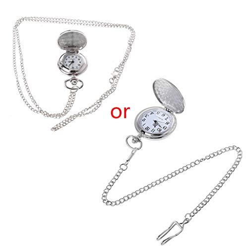 WYZQ Taschenuhr Silber Quarz Luxusuhren Frauen Kette Anhänger Kragen Halskette Schmuck Einfache Mode Kreative Charme Geschenke Vintage Mini Größe