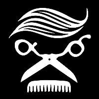 カーステッカー 16.1x16.7cmはさみのブラシ髪のサローンクリエイティブアートビニールデカール車のステッカー カーステッカー (Color Name : Silver)