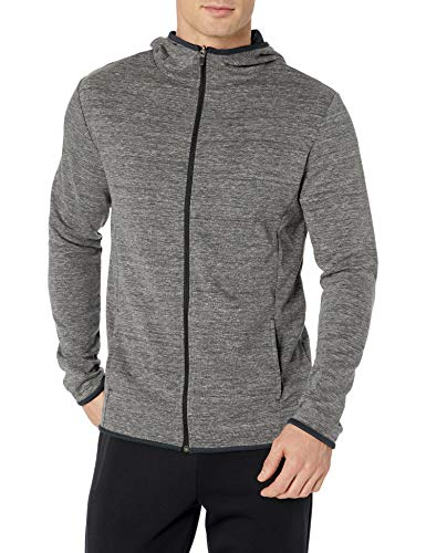 Amazon Essentials Men's Performance Full-Zip Hoodie, Black Heather, Large