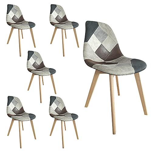 4 sedie sala da pranzo imbottite Sedie da pranzo patchwork imbottite con gambe in legno in set da 2