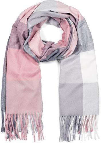 styleBREAKER Unisex weicher Karo Schal mit langen Fransen, kariert, Winter, Stola 01017110, Farbe:Rosa-Grau-Weiß