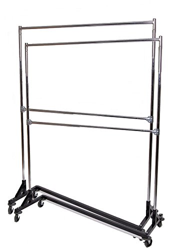 Only Hangers GR600EH (Set of 2) Commercial Grade Double Bar Rolling Z Rack with Nesting Black Base (Set of 2 Racks) (Pack of 2)