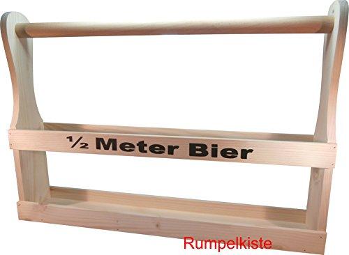 Rumpelkiste Bierträger aus Holz für 7 Flaschen 0,5l - 1/2 Meter Bier