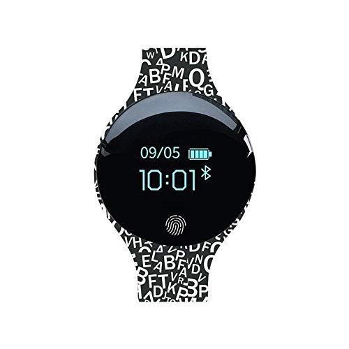 AIREQN Inteligente Reloj for los Hombres Mujeres Deportes SmartWatch Inteligente podómetro Aptitud Digital Relojes Pulsera (Color : Black White)