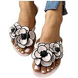 Sandals for Women Flat,Flat Sandals Floral Flip Flops Comfy Sandal Shoes for Summer Beach Oceanside Holiday Outdoor Pink