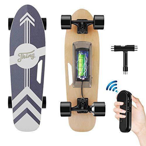 Tooluck Electric Skateboard mit drahtloser Fernbedienung, 20 km/h Höchstgeschwindigkeit, 350 W Motor, 8 Meilen Reichweite, 7 Schichten Ahorn, 3-Gang-Modi für Erwachsene Teenager und Kinder (schwarz)
