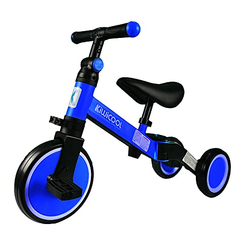 iNFANCiA FELiZ Transformable Tricycle, Evolutive Tricycle, 3 in 1 Multi-Purpose Bike, Tricycle and Bicycle Trainer without Pedals and Balance Cart Ideal for Boys and Girls from 1 Year 4 Months to 4 Years Practical, Lightweight and Portable (Blue)
