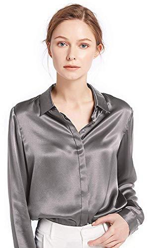 LilySilk Damen Hemdbluse Seide Sommerliche Damenbluse Shirt mit Verdeckter Knopfleiste von 22 Momme (S, Grau) Verpackung MEHRWEG