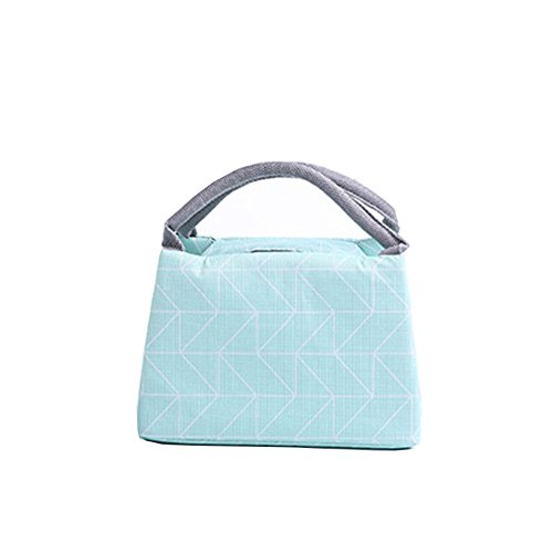 Fablcrew Sac Repas Lunch Bag en Tissu Oxford Sac à Déjeuner Portable Isotherme étanche et Réutilisable pour Repas Pique-Nique Bureau 23 * 15 * 16CM (Vert)