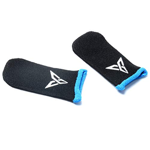 1 Paar Schweißfeste Fingerhandschuhe Touchscreen Game Controller Daumen Finger Sleeve für PUBG Phone Games, Schwarz + Blau