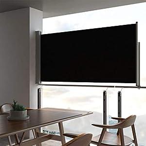 UnfadeMemory Toldo Lateral Retráctil para Balcón Terraza o Patio,Protección Solar,Protección Solar,Color Opcional,Dimensiones Opcional (120x300cm, Negro)