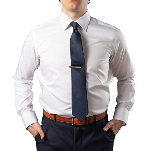 JustWhiteShirts Men's Egyptian Cotton White Non Iron, Stain Resistant Dress Shirt, Long Sleeve Modified Collar, Button Cuff (15-34 Reg)