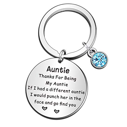 QMVMV Auntie Keyring Gifts Thank You for Being My Aunt Keychain Mother's Day Gifts for Auntie...