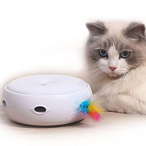 Juguetes para Gatos Automatico con 2 Plumas Desmontables Cat Toys 3 Modos Juegos para Gatos Interactivos Mantén ágil Satisface el Instinto de Caza Agrega Diversión