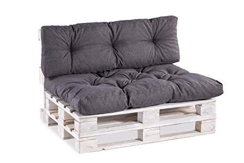 Palettenkissen Palettenauflagen Sitzkissen Rückenlehne Gesteppt PPI (Set (Sitzkissen 120x80 +Rückenlehne 120x40), Anthrazit)