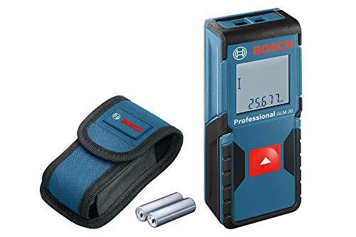 Medidor profesional Bosch láser de distancia GLM 30, Uso con un solo botón, distancia máxima: 30 m, 2 pilas de 1.5 V, funda