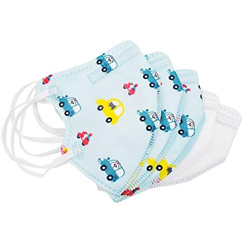 5er Set Mundmasken für Kinder Gesichtsmasken 4-lagig Maske (3X Blau, 2X Weiss)