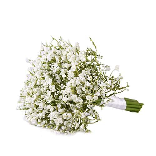 BE YOU TIFUL Bouquet da Sposa, Artificial Baby Breath Gypsophila Wedding Bouquet da Sposa Damigella d'Onore con Fiori con Nastro di Raso per la Decorazione della Festa a casa - Bianco