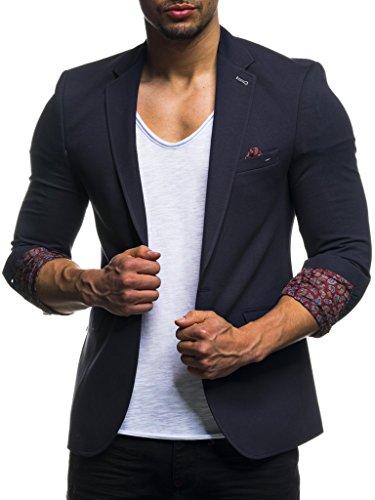 Leif Nelson Blazerjas Slim Fit Modern Zwart Blauw Antraciet