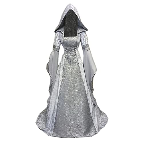 SHOPESSA Women's Gothic Dress with Hood Medieval Costume Renaissance Dress Flare Sleeve Floor Length Victorian Dress with Corset Silver
