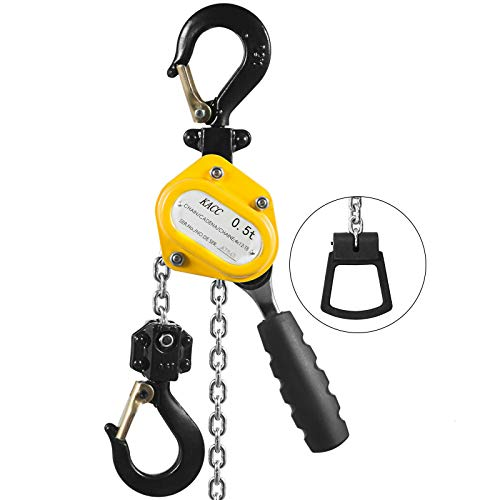 Mophorn 0.5T Lever Block Chain Hoist 1.5M 5ft Chain Hoist Alloy Steel G80 Chain Ratchet Lever Hoist with Hook (0.5T 5FT)