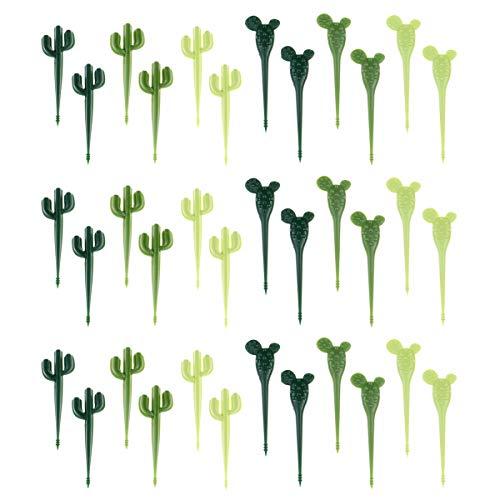 MOTZU 36 Pack Kinder Obstgabeln, Obstgabel Kaktus, Pflanzenförmige Dessertgabel, Bento Essensgabel Picks Salatspieße Picks, Mini Gabeln Grün, Party Gabeln für Spießchen/Obst/Kuchen/Obstteller