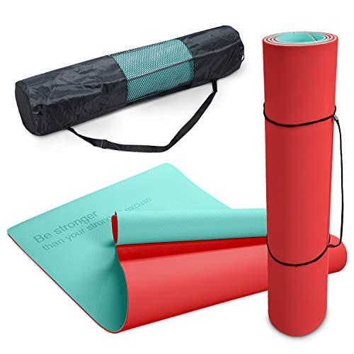Paco Home Esterilla Antideslizante Yoga Antidesgarro Lavable 8mm Dicho Turquesa Naranja, tamaño:80x183 cm