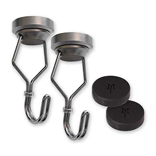 SwivelMag Heavy Duty Scratch Proof Magnetic Hooks - Strong Swivel Hook Magnets - Best for Refrigerator, Coat Hanger, Kitchen & BBQ Grill Tools, RV, Cruise Ship, Tools, Whiteboard, Locker, Steel Shelf