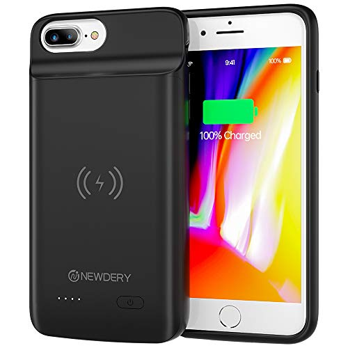 NEWDERY Battery Case for iPhone 6 Plus, 6s Plus, 7 Plus, 8 Plus, 5000mAh Wireless Charging Case Extended Battery Pack Protective Charger Case for iPhone 7Plus 8Plus 5.5inches