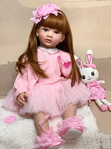24 inch 60cm Realistic Reborn Toddler Baby Dolls Toddlers Very Cute Princess Girl with Pink Dress and Hairband for Boys Girls Birthday Xmas Gifts Ages 3+ (24 inch Girl Pink Outfit)