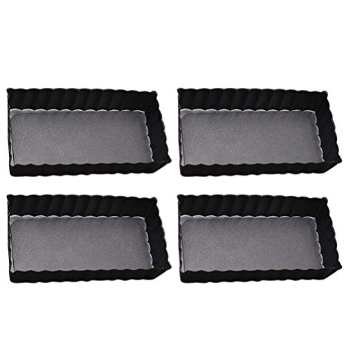 Cabilock 4Pcs Min Baking Pan Carbon Steel Rectangular Non-Stick Oven Cake Pan Sturdy Toast Box Mold Pan Baking Tray for Bread Cookie Loaf (Black, 4 Inches)
