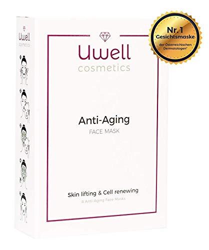 Uwell Anti-Aging Face Mask Gesichtsmaske | Premium Tuchmaske | Aloe Vera Hydrogel Vlies Maske | Hautverjüngend | Faltenreduktion | Vegan | einfache Anwendung | 8 Stk.