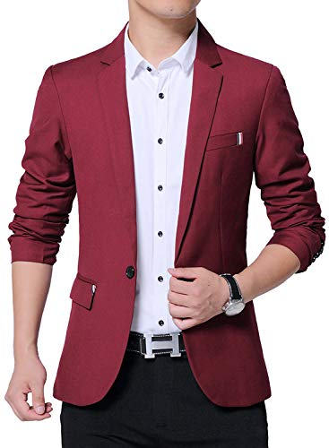 DAVID.ANN Men's Slim Fit Casual One Button Blazer Jacket,#1 Wine,Large