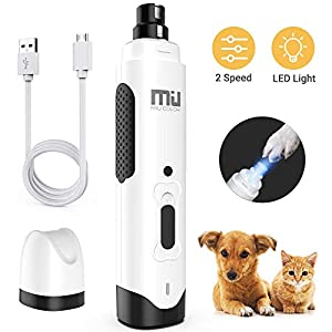 MIU COLOR Dog Nail Grinder, Upgraded Professional Pet Nail Trimmer, Low Noise and Build-in LED Light, Rechargeable 2 Speed Pets Electric Nail File Painless Paws Grooming for All Sizes Dogs Cats