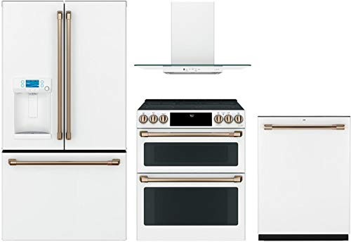 """Price comparison product image GE Cafe 4 Piece Kitchen Package CFE28TP4MW2 36""""French Door Refrigerator,  CES750P4MW2 30""""Smart Slide-in Electric Range, CVW73014MWM 30""""Wall Mount Hood CDT836P4MW2 24"""" Built In Dishwasher in Matte White"""