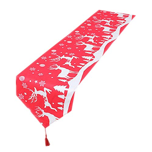 TOYANDONA Noël Chemin de Table Coton Lin Rectangle Nappe Drapeau Couverture pour La Maison Salle à Manger Décoration Festival Fête Faveurs Utilisations (Rouge)