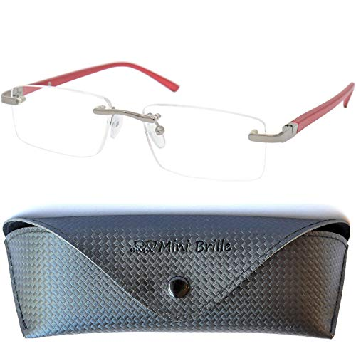 Metall Lesebrille randlos mit rechteckigen Gläsern - mit GRATIS Brillenetui, Edelstahl Rahmen (Rot), Lesehilfe Herren und Damen +3.5 Dioptrien