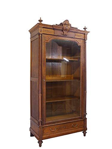 Gründerzeit Vitrine um 1880 | Antiker Bücherschrank aus Eiche massiv | Vitrinenschrank zerlegbar (9956)