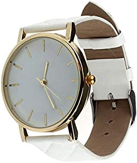 Casual watch with a leather belt for women - white color