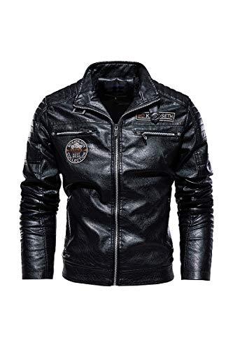 Azshara Chaqueta de Cuero para Hombre Aviador Chaqueta Chaqueta de Motocicleta Bombardeo Chaqueta clásico Blouson